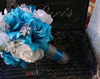 Malibu Blue White Rose Silver accents Wedding Bouquet, Blue White Bouquet Bridal Bouquet Turquoise Bouquet, Malibu Blue Wedding Bouquet