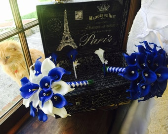 Royal Blue White Calla Lily Bridal Bouquet Wedding Flower 17 Piece Set, Royal Blue White Bouquet, Blue wedding bouquet