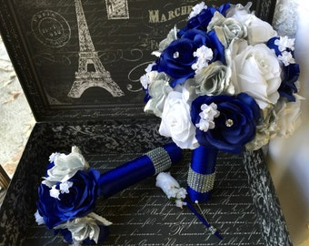 Royal Blue White Silver Rose Wedding Bouquet 3 piece set, Royal Blue White Bouquet, White Silver Blue Bouquet, Blue White Silver Bouquet