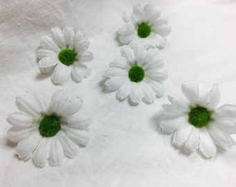 5 Mini White Artificial Daisy Flowers, White Fake Flowers, Daisy Flower Crown, Daisy Craft Flowers, Daisy Wedding Decor, Daisy Flowers DIY