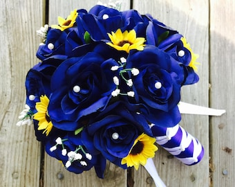 Royal Blue Rose Mini Sunflower Wedding Bouquet with Babies Breath, Royal Blue Bouquet, Royal Blue White Bouquet, Royal Blue Bridal Bouquet