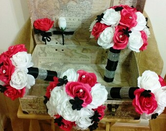 17 Piece Hot Pink White Black Bouquet Hot Pink Bridal Bouquet Wedding Set, Hot Pink White Bouquet, Hot Pink Black Bouquet, Hot Pink Wedding