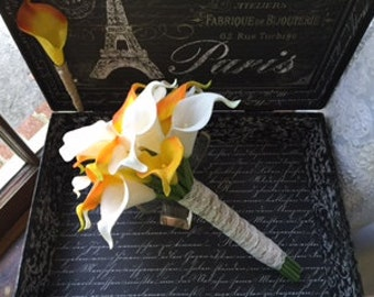 Real Touch Orange White Calla Lily Wedding Bouquet with Free Boutonniere, Orange White Bouquet Orange Calla Lily Bouquet Rustic Wedding