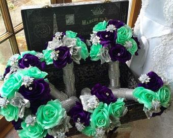 Wedding Bouquet, 17 Piece Silver Purple Mint Rose Bridal Bouquet Flower Set, Mint Wedding, Silver Bouquet, Mint Bouquet, Purple Bouquet