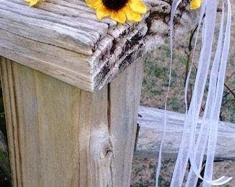 Hair Wreath, Sunflower Hair Wreath, Flower Girl Hair Wreath, Bridal Hair Wreath, Hair Bow, Flower Girl Bow, Rustic Hair Wreath