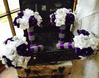 Purple White Silver Rose 17 Piece Wedding Bouquet Set, Purple Bridal Bouquet, Purple White Bouquet, White Purple Bouquet, Silver Bouquet