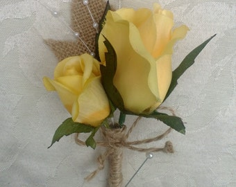 Yellow Rose Boutonniere wrapped in Natural Twine, Rustic Boutonniere, Yellow Boutonniere, Rustic Wedding, Yellow Mens Flowers, Yellow Groom