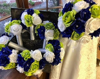 17 Piece Royal Blue Lime White Rose Wedding Bouquet Silk Flower Set, White Blue Bouquet, Lime Green Bridal Bouquet Blue Lime White Wedding