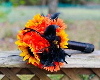 Orange Black Feather Wedding Bouquet + Matching Boutonnière, Halloween Bouquet, Orange Black Bouquet, Fall Wedding Fake flower bouquet