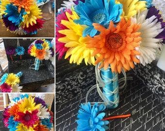 Daisy Bridal Bouquet 15 Piece Wedding Bouquet, Turquoise Bouquet, Hot Pink Daisy Bouquet, Purple Bouquet Yellow Bouquet, Malibu Blue Bouquet