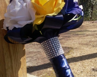 Yellow Rose Navy Blue Rose White Rose Real Touch Bridal Bouquet Wedding Bouquet Set, Yellow Bouquet, Yellow Navy Bouquet Yellow Rose Bouquet