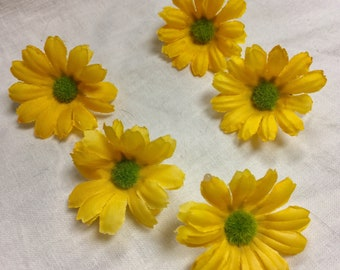 5 Small Yellow Artificial Daisy Flowers, Yellow Fake Flowers, Yellow Flower Crown, Daisy Crown, Yellow Wedding Decor, Yellow Flowers DIY