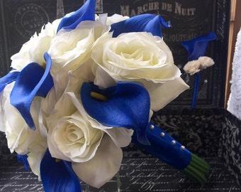 Royal Blue Ivory Rose Wedding Bouquet, Royal Blue Bouquet, Horizon Blue Ivory Bouquet, Blue Calla Lily Bouquet Ivory Rose Bridal Bouquet
