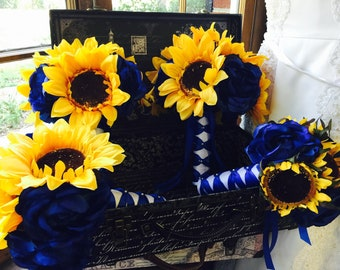 Sunflower Royal Blue Rose Wedding Bouquet Set, Wedding Sunflower Bridal Bouquet Rustic Sunflower Bouquet, Yellow Blue Bouquet