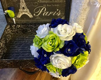 Royal Blue Lime White Rose Wedding Bouquet Silk Flower Set, White Blue Green Bouquet, Lime Green Bridal Bouquet Blue Lime White Wedding