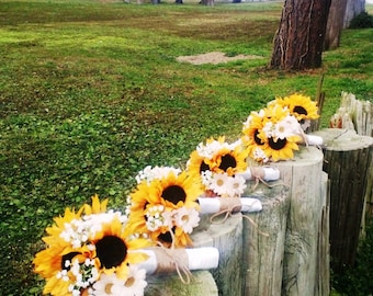 Sunflower Wedding Bouquet 17 Piece Set, Daisy Sunflower Bridal Bouquet, Sunflower Twine Bouquet, Rustic Bouquet, Rustic Wedding Sunflowers