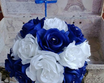 Royal Blue White Rose Bouquet, Royal Blue White Bouquet, White Blue Bouquet, Royal Blue White Bouquet, Horizon Blue Royal Blue Wedding