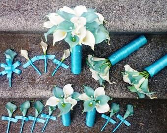 Real Touch Aqua Blue White Calla Lily Wedding Flower 17 piece Set, Calla Lily Bouquet Aqua Blue White Wedding Bouquet, Blue Bridal Bouquet