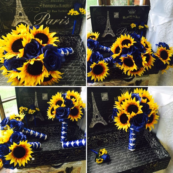 7 piece Sunflower Royal Blue Wedding Bouquet Set, Sunflower Bridal  Bouquet, Fake flower set, Rustic Sunflower Bouquet, Blue Bouquet