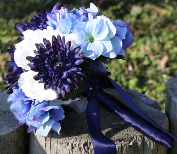Blue Hydrangea Wedding Flowers: Items Similar To Bridal Bouquet Real Touch Flowers White