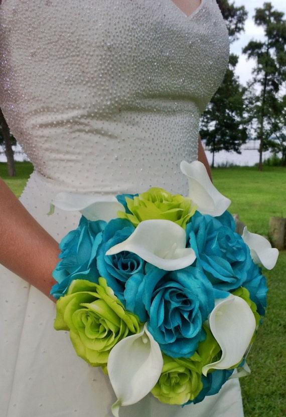 Malibu Blue Wedding Bouquet Lime Green Bouquet White Calla | Etsy