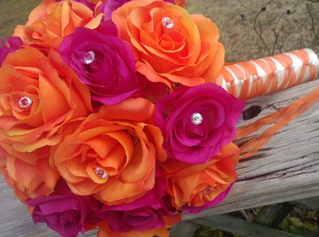Orange Fuchsia Bouquet Orange Rose Bouquet Orange Pink Etsy