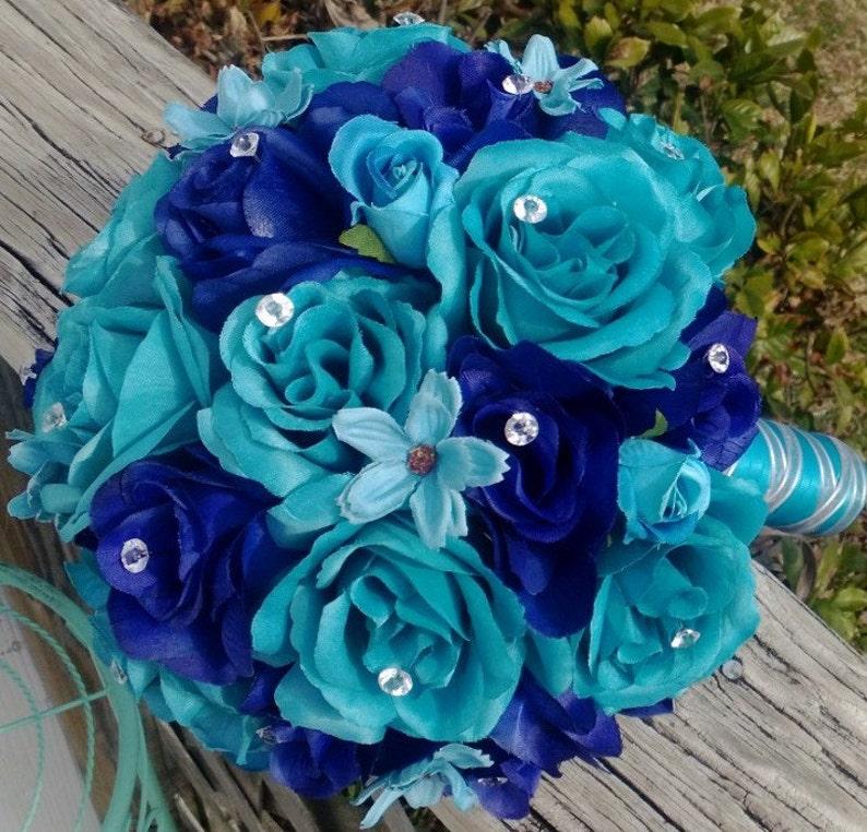 6dc49c3332 Malibu Blue   Royal Blue Rose Wedding Bouquet Malibu Blue