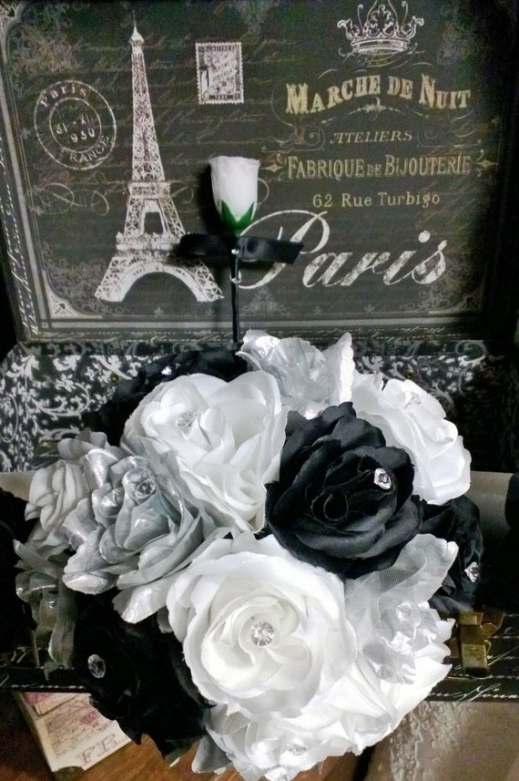 Silver Black White Rose Wedding Bouquet With Matching Etsy