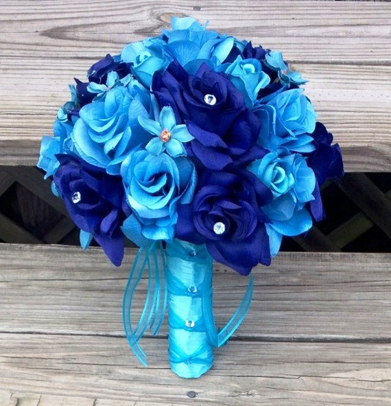 Items Similar To Malibu Blue Bouquet, Bridal Bouquet