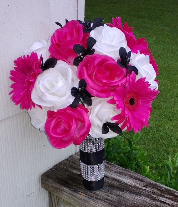 Dark Pink Wedding Flowers: Hot Pink White Black Rose Bridal Bouquet 2 Piece Set Hot