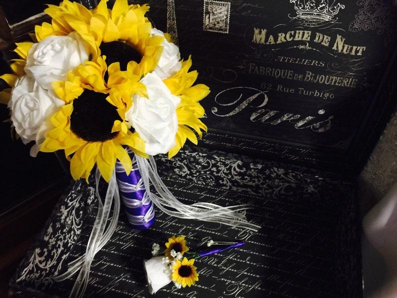 Sunflower Bouquet Set Sunflower White Rose Bridal Bouquet Sunflower Purple Bouquet Sunflower Wedding Bouquet Yellow white Bouquet