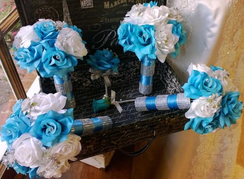 0b901b7718 17 Piece Malibu Blue Wedding Flower Set Blue White Bridal