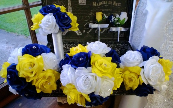17 Piece Royal Blue Yellow White Rose Wedding Bouquet Silk Etsy