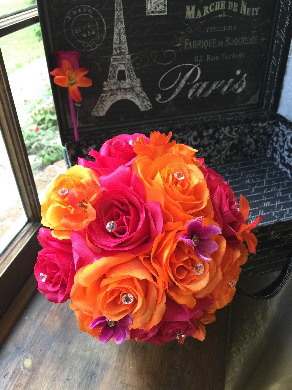 Orange Hot Pink Wedding Bouquet With Boutonniere Pink Orange Etsy