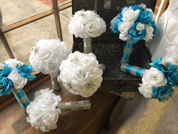 17 piece malibu blue white silver wedding flower set bridal etsy image 0 mightylinksfo