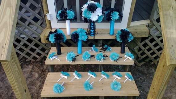 Daisy Bouquet Black White Turquoise Malibu Blue 15 Piece | Etsy