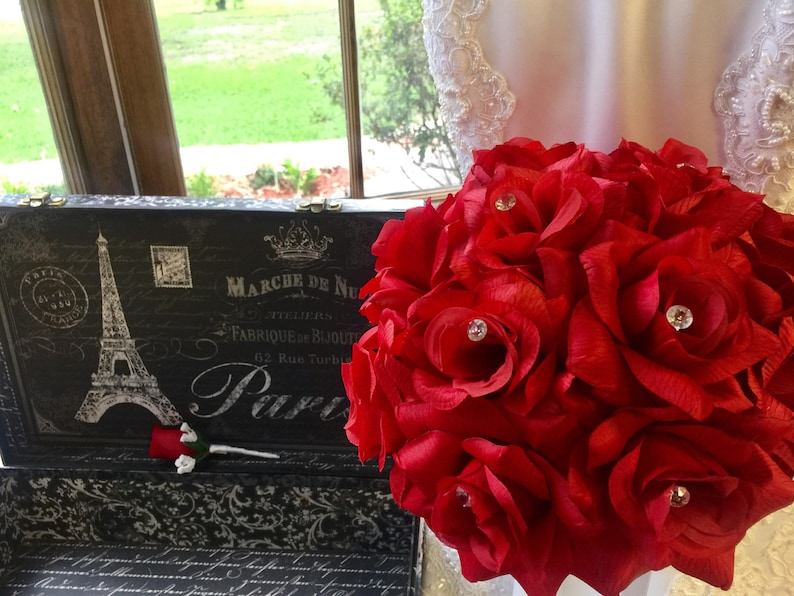 Red Rose Wedding Bouqet.Red Rose Wedding Bouquet With Boutonniere Red Bride Bouquet Red Rose Bridal Bouquet Red Bridal Bouquet Red Flower Bouquet Red Bridesmaid