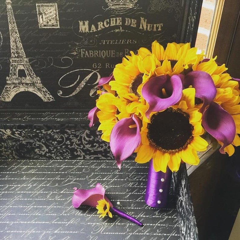 Sunflower Purple Calla Lily Wedding Bouquet With Matching Etsy