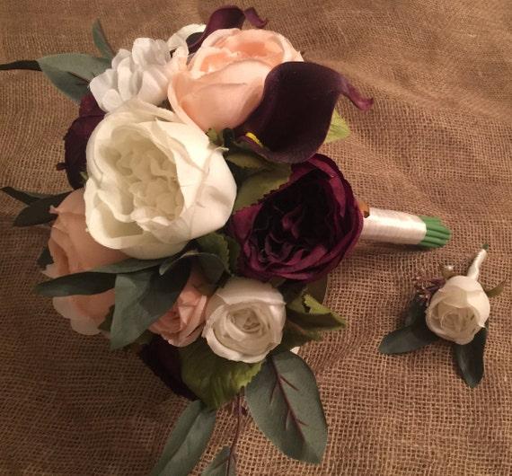 Rose Wedding Bouquet | Burgundy Pink Ivory Rose Wedding Bouquet Set Burgundy Etsy