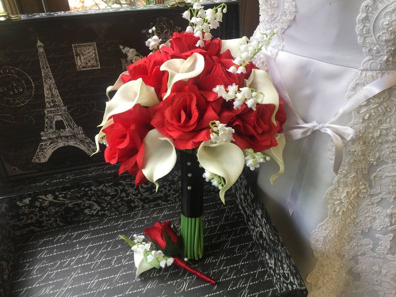 Red Rose White Calla Lily Of The Valley Wedding Bouquet Set Etsy