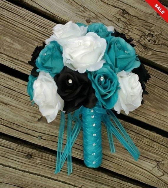 8f1e103e00 Malibu Blue Black White Rose Wedding Bouquet Malibu Blue