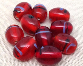 10 Vintage Red Oval Glass Beads Translucent Striped