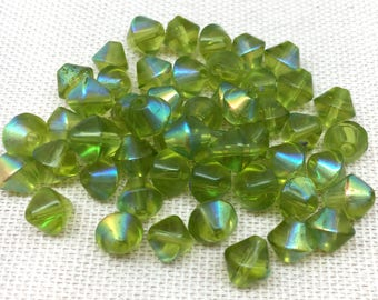50 Vintage AB Apple Green Bicone Glass Beads 6mm