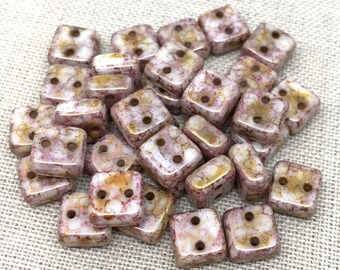 50 Two Hole Chexx Czech Picasso Glass Beads Square 6mm