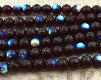 50 AB Dark Garnet Czech Round Glass Beads 6mm