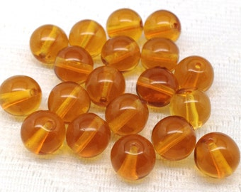 25 Honey Topaz Czech Round Glass Beads 8mm