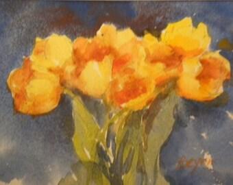 Yellow Tulips, Blue Wall C540