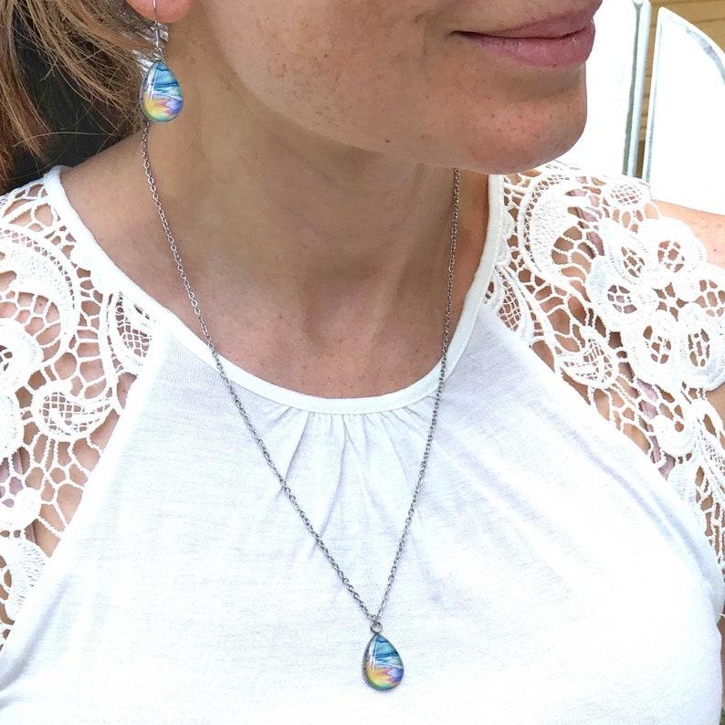 Seascape Teardrop Pendant Beach Lover Jewelry Beach Necklace