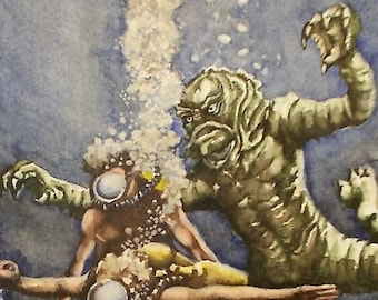 Original Watercolor Painting - The Creature from the Black Lagoon