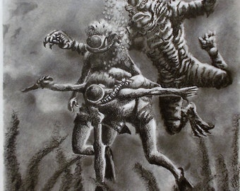 Original Drawing - The Creature from the Black Lagoon